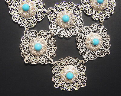Antique 19th Century Chinese Sterling Silver and Turquoise Necklace and Earrings 4