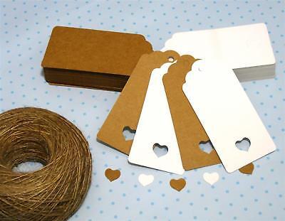 10/25/50/100 Kraft Paper Gift Tags Scallop Label Wedding Blank + Strings *UK* 2