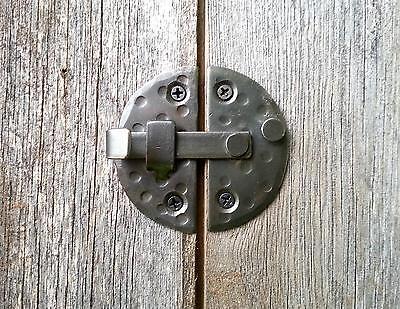 "HANDMADE 2.9"" ROUND CABINET DOOR LATCH Black Antique Iron Cupboard  Decor Lock 7"