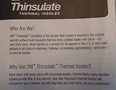 3M Thinsulate Thermal Replacement insoles mens   Med 7-8 womans 9-10