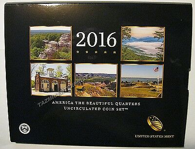 2016 P & D US Mint America the Beautiful Uncirculated 10 Coin Quarter Set 16AA