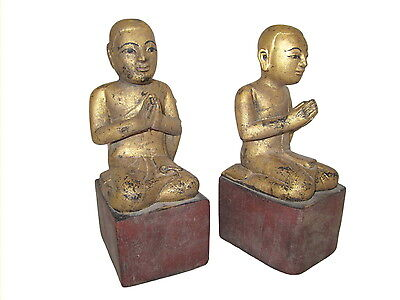 Antique Burmese wood Disciples Monks 19th century Myanmar Burma 3