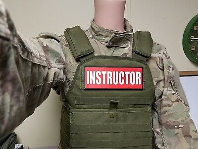 """3x8/"""" INSTRUCTOR RED HOOK MORALE VEST PATCH POLICE MILITARY CONTRACTOR CHP CCW"""