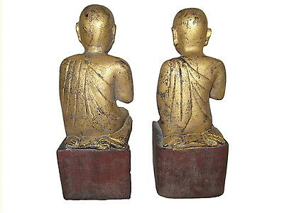 Antique Burmese wood Disciples Monks 19th century Myanmar Burma 4