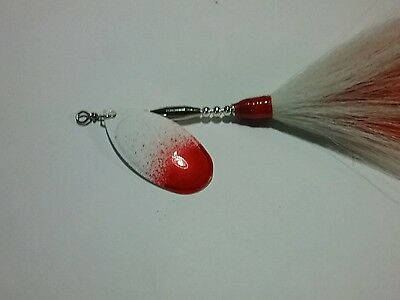 MUSKY Bass Pike  BUCKTAIL White Red TAIL With LPI LAZER BLADE