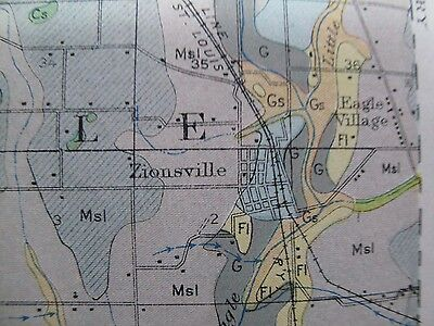 Folded Soil Survey Map Boone County Indiana Lebanon Zionsville Thorntown 1912 4