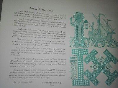 San Nicola Calendario.Calendario Di San Nicola Di Bari Ix Centenario Della Traslazione 1087 1987