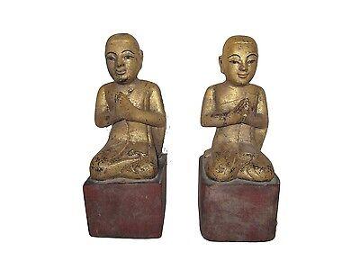 Antique Burmese wood Disciples Monks 19th century Myanmar Burma 2