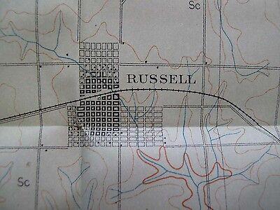 Folded Color Soil Survey Map Russell Kansas Bunker Hill Smoky Hill River 1903 2