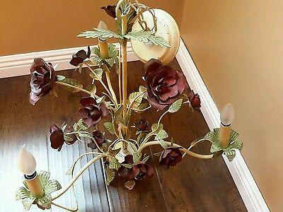 Vintage 3 Arm, Baroque Chandelier w Roses wrought iron Gorgeus 5