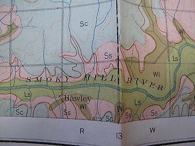 Folded Color Soil Survey Map Russell Kansas Bunker Hill Smoky Hill River 1903 4