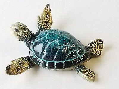 Cozumel Reef LARGE Green Sea Turtle Figurine Nautical Beach Coastal Decor NEW
