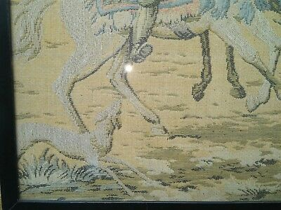 Antique Ottoman Era depiction of Horse Riding Merchants town  tapestry . 4