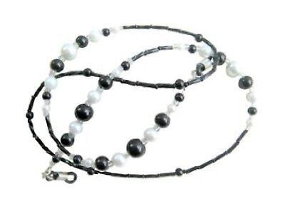 ✫Monochrome✫ Black & White Beaded Eyeglass Glasses Spectacles Chain Holder