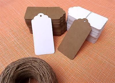 10/25/50/100 Kraft Paper Gift Tags Scallop Label Wedding Blank + Strings *UK* 4