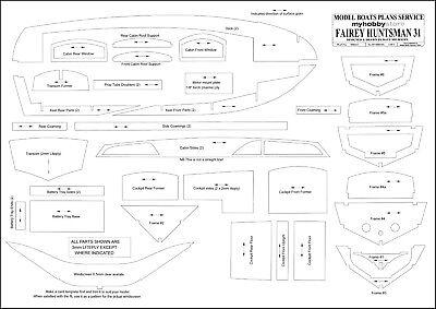 FAIREY HUNTSMAN 31. Motoryacht. Modellbauplan