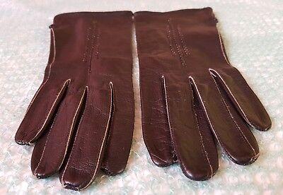 Vintage Retro 'Eleganta' Black Colour Leather Gloves Size 6.5 Small 5