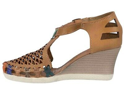 Women Mexican Huarache Wedge Sandal Real Leather Cognac Summer Closed Handmade