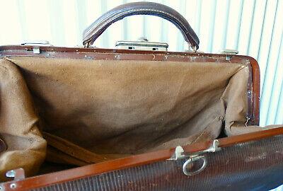 Antike Leder Arzttasche Doktortasche Tasche Sacvoyage Hebammentasche um 1900 12