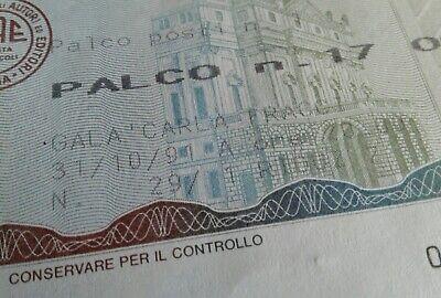 """Biglietto Palco Scala Di Milano """"Gala Per Carla Fracci"""" 31/10/1991 3"""