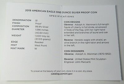 2019-W AMERICAN SILVER EAGLE PROOF w/BOX+COA BRAND NEW ~ ON HAND READY TO SHIP! 10