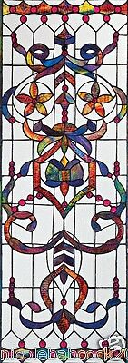4 Foot European Antique Style Manor Estate Stained Glass Window Panel Authentic 2