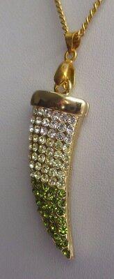 Chaîne pendentif bijoux corne d'abondance couleur or cristal diamant vert 3277 2