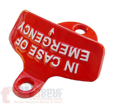 Red Embossed IN CASE OF EMERGENCY Starr X Wall Mount Bottle Opener Cast Iron 2