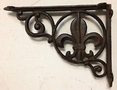 SET OF 4 FLEUR DE LIS SHELF BRACKET BRACE, Antique Brown Finish cast iron 2