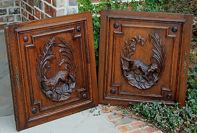 Antique French Oak Black Forest FOX Architectural Hanging Wall Panel Door #1 7