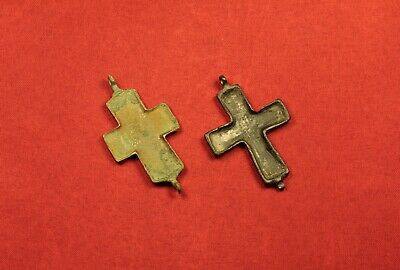 2 Medieval Byzantine Reliquary Crucifix Cross Pendant, 10. Century 3