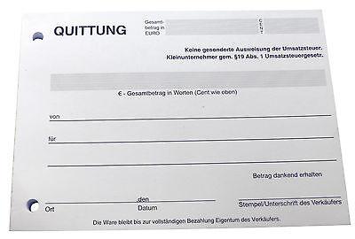 A6 100 BLATT gelocht 22421 12x RECHNUNGSBLOCK Quittung Kleinunternehmer §19