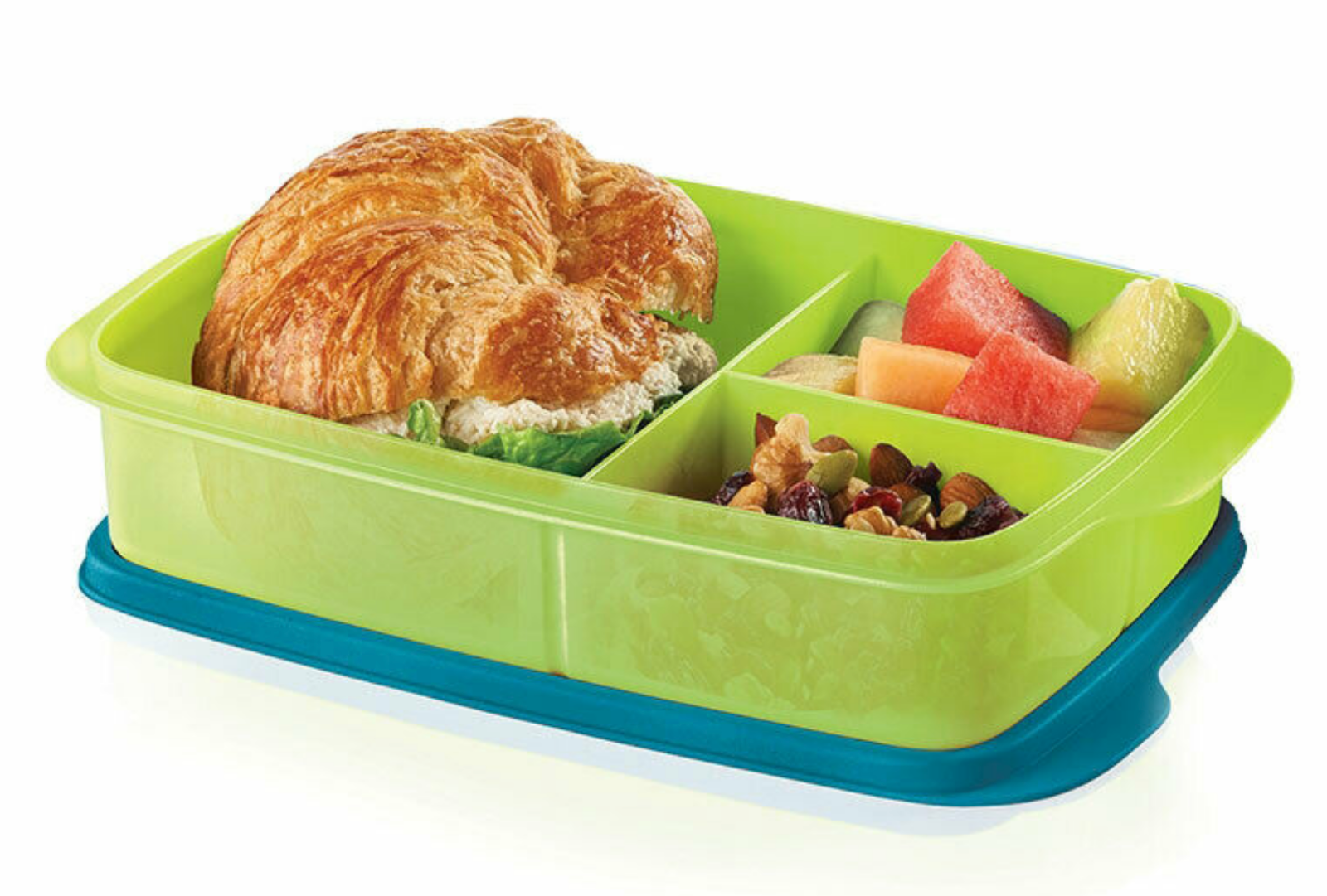 Tupperware Large Divided Lunch It Container ~ Green & Blue ~ New 2
