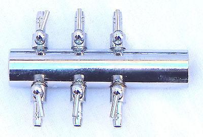 Aquarium Manifold Air Line Tubing Metal Gang Valve for Air Pump 19mm Inlet 2