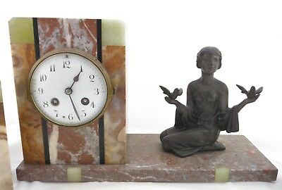 Art Deco French Marti of Paris Variegated Marble Figural Mantle Clock ca.1920 6
