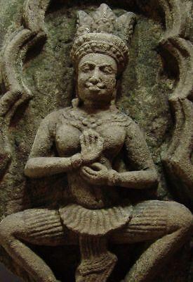 KHMER SANDSTONE TEMPLE GODDESS 'APSARA' STONE RELIEF FRAGMENT ANGKOR THOM 13th C 3