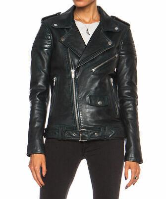 Women/'s Black Lambskin Real Leather Motorcycle Slim fit Rave Biker Jacket