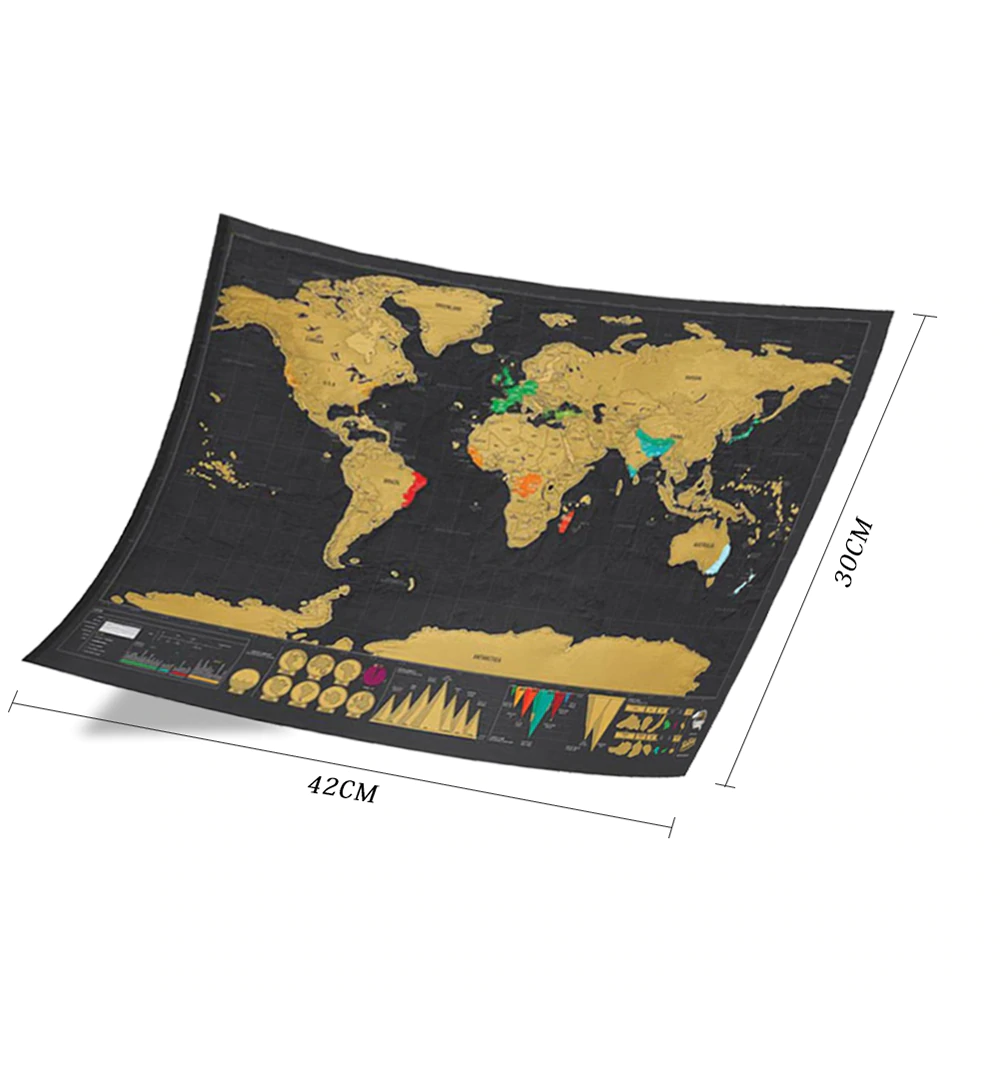 Deluxe Erase Black World Map Scratch off Personalized Travel Decoration Wall 2