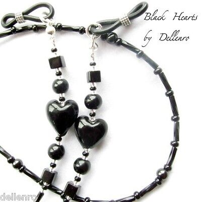 ✫BLACK HEARTS✫ BEADED EYEGLASS GLASSES SPECTACLES CHAIN HOlDER CORD