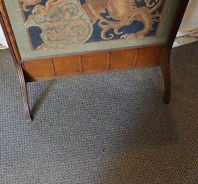 Antique Oak Fireplace Screen Insert - Tapestry Insert - 6