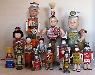 Künstler- & handgemachte Puppen OOAK Steampunk Assemblage ARTIST DOLL Antique Mixed Media GOOGLY Head 'Colman'