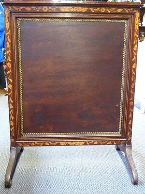 Antique English Inlaid Mahogany Adjustable Firescreen W/French Tapestry.1870 2