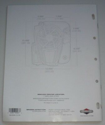 Briggs & Stratton Dealer Engine Sales Replacement Specifications MS-5568-10/09 6