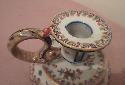 antique handmade Rouen Cornucopia French majolica porcelain candle stick holder 5