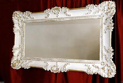Bilderrahmen Weiß/Gold Barock Gemälderahmen  Antik Rokoko 96x57 Rahmen Groß 3074 3