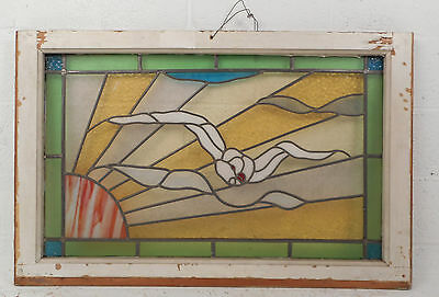 Vintage European Seagull Stained Glass Window Panel (2958)NJ 2