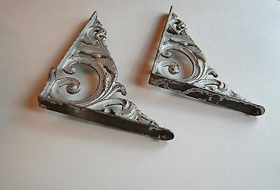 Cast iron wall brackets(2), vintage, painted silver 3