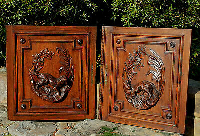 Antique French Oak Black Forest FOX Architectural Hanging Wall Panel Door #1 8