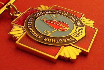 Russian Soviet CHERNOBYL LIQUIDATOR MEDAL Atomic Disaster Badge ORIGINAL A-Cond. 2