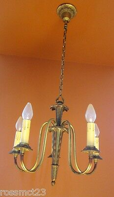 Vintage Lighting antique pair 1930s green gold chandeliers   High Quality 3